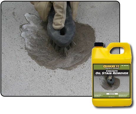 Oil stain remover quikrete cement and concrete products for Concrete cleaner oil remover